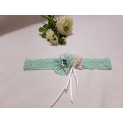 Bandeaux dentelle élastique vert clair – fleur dentelle  - cabochon papillon – éventail  ivoire – ruban satin ivoire - perle