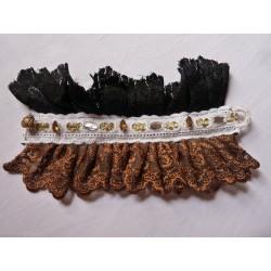 Manchette victorienne noire - mordorée - strass