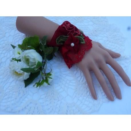 Manchette mousseline rouge élastiquée dentelle fleurie rouge guipure