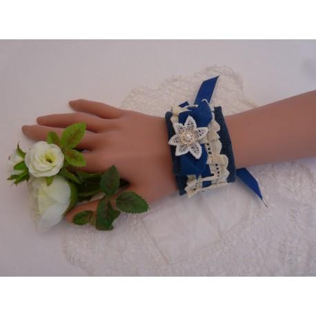 Manchette jean - broderie anglaise ivoire et ruban bleu roi