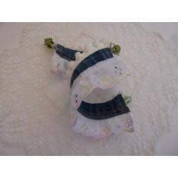 Manchette jean – broderie anglaise rose / jaune / bleue – articulée par un fil laiton